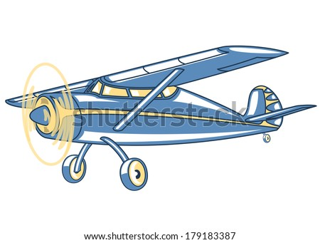 Cartoon retro airplane.Illustration clip art - stock vector