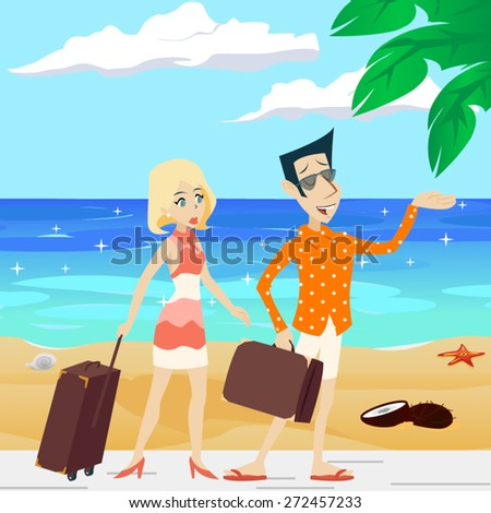 Cartoon Retro Vintage Male and Female Characters on Sea Beach Summer Vacation Tourism Journey Travel Symbol icons  Vector Illustration - stock vector