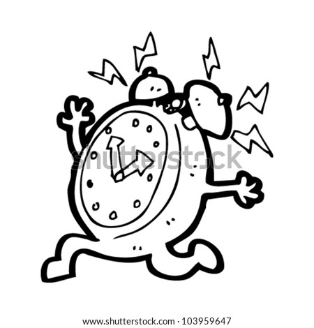 cartoon ringing alarm clock character - stock vector