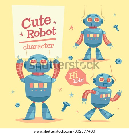 Cartoon robot character. Vector illustration. - stock vector
