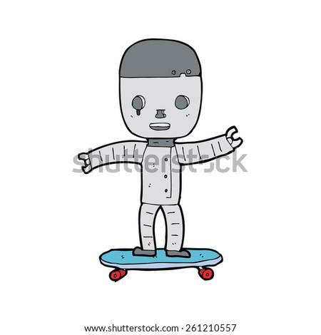 cartoon robot on skateboard - stock vector