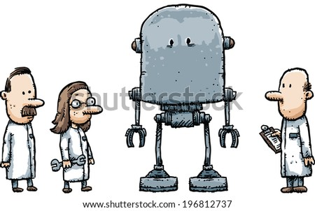 Cartoon robot scientists examine their new creation. - stock vector