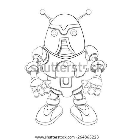 Cartoon robot  with antennas. Coloring book. - stock vector