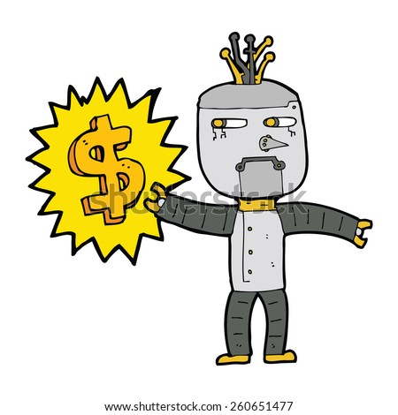 cartoon robot with money symbol - stock vector