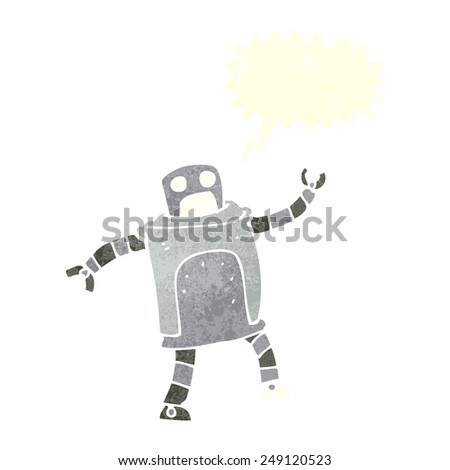 cartoon robot with speech bubble - stock vector