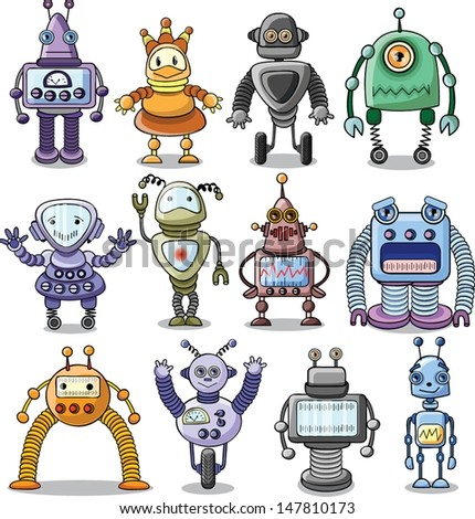 Cartoon robots set - vector - stock vector
