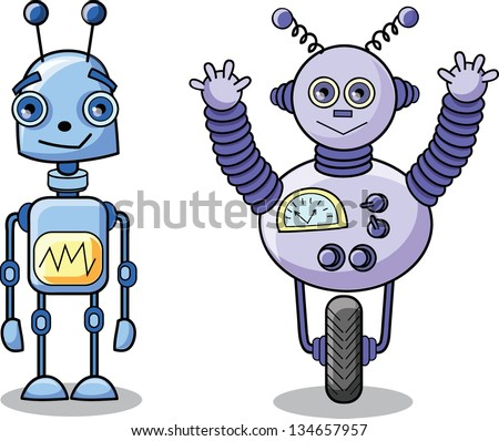 Cartoon robots, vector - stock vector
