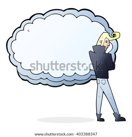 cartoon rocker standing in front of cloud with space for text - stock vector
