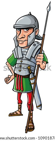 Cartoon Roman Legionary. Isolated on white - stock vector