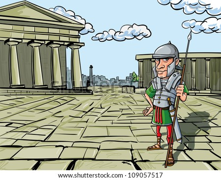 Cartoon Roman Legionary standing in front of a Roman temple - stock vector