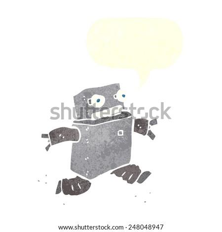 cartoon running robot with speech bubble - stock vector