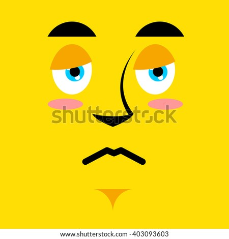 Cartoon sad face on yellow background. Sadness emotion. Pessimistic personality. Pitiful face. Mournful pathetic character - stock vector