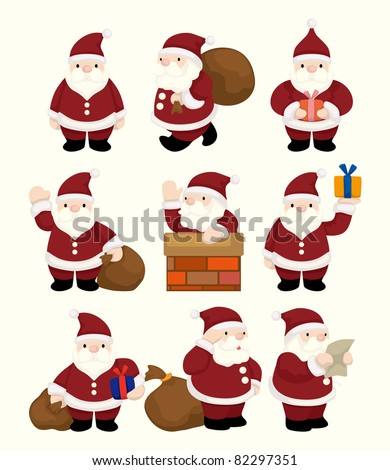 cartoon santa claus Christmas icon set - stock vector