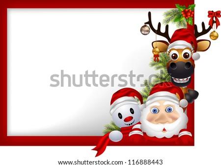 cartoon santa claus ,deer and snowman with blank sign - stock vector