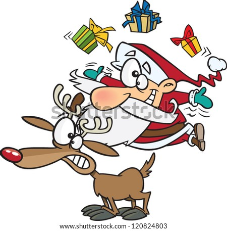 cartoon santa claus juggling presents on rudolphs back - stock vector