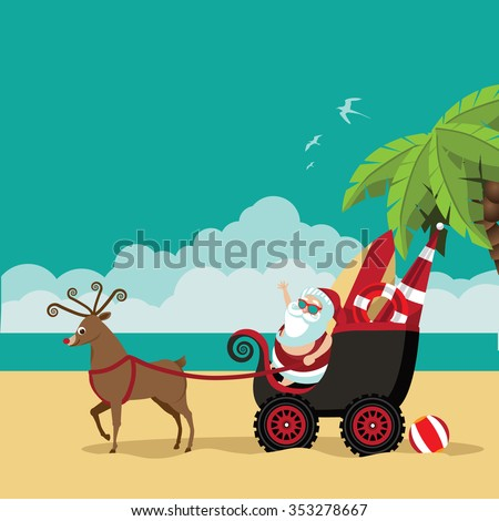 Cartoon Santa Claus waves hello from his dune buggy on a tropical beach. Background with copy space for poster, advertising, marketing, web page, social media, greeting card. EPS 10 vector. - stock vector