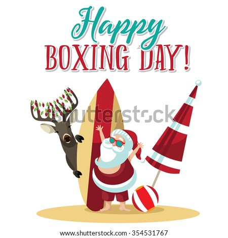 Cartoon Santa Claus waves hello from the beach to wish you a Happy Boxing Day. EPS 10 vector illustration. - stock vector