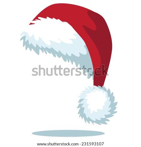 Cartoon Santa hat isolated on white EPS 10 vector - stock vector