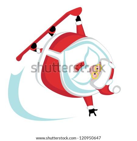 Cartoon  Santa  snowboarding .Separate layers - stock vector