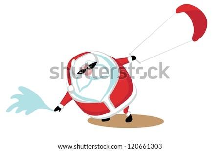 Cartoon  Santa surfkiting. Separate layers - stock vector