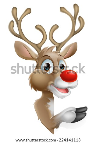 Cartoon Santas Christmas Reindeer peeking around a sign and pointing - stock vector