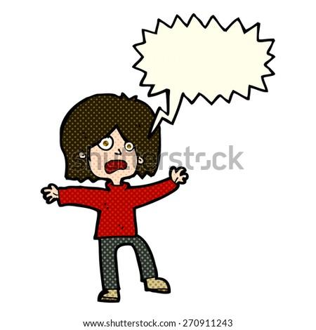 cartoon scared person with speech bubble - stock vector