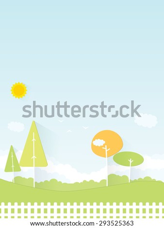 cartoon scenery. flat paper image - stock vector