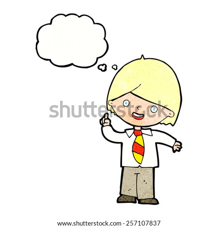 cartoon school boy answering question with thought bubble - stock vector