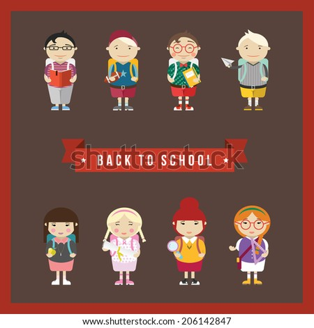 Cartoon school girls and boys characters vector background. Back to school illustration.  - stock vector