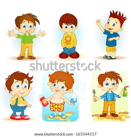Cartoon school kids - stock vector