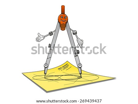 Cartoon school or architecture compass character with happy smiling face standing on a drawing paper suited for stationery or measurement equipment design  - stock vector