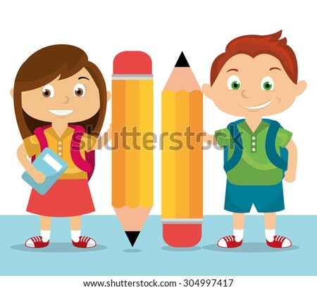 Cartoon school students with the pencil - stock vector