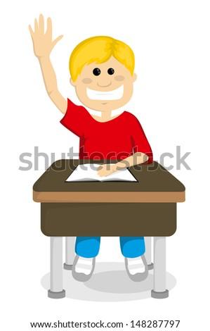 Cartoon schoolboy raising hand - stock vector