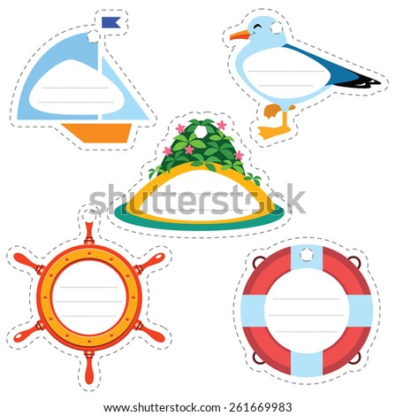 Cartoon sea travel gift tags: ship, life buoy, sea gull, rudder, island. Some blank space for your text included. - stock vector