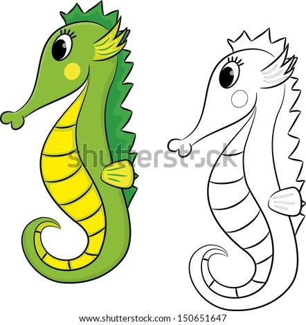 Cartoon seahorse. Coloring book. - stock vector