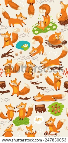 Cartoon seamless pattern with cute foxes. Forest background in bright colors - stock vector
