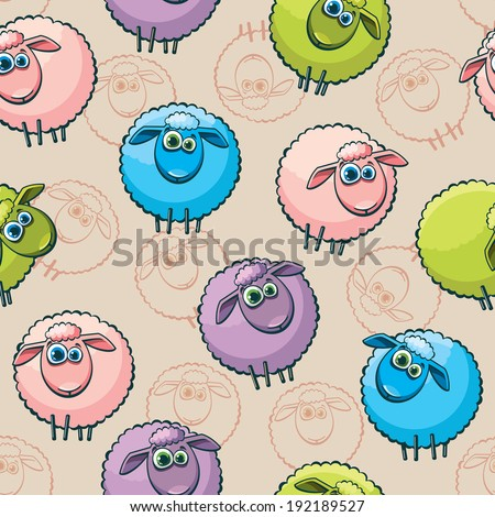 Cartoon seamless pattern with funny sheep. Vector wallpaper. - stock vector