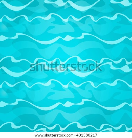 Cartoon seamless shiny blue water background with waves. Vector illustration. - stock vector