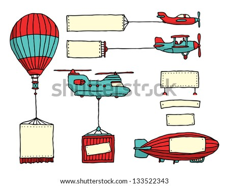 Cartoon set of air vehicles with banners - stock vector