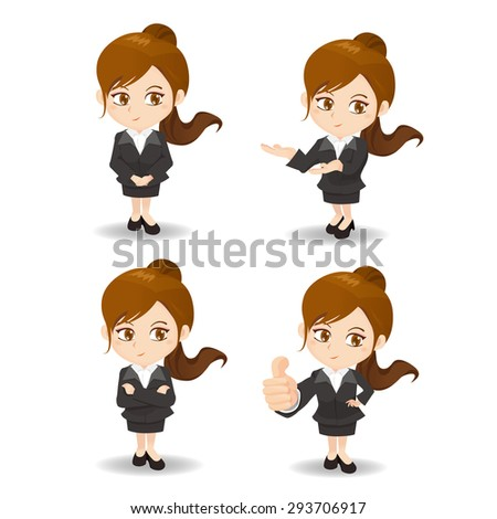 cartoon set of Business woman in different poses. - stock vector