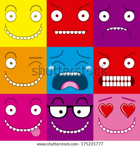Cartoon Set Of Different Cute Faces - stock vector