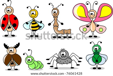 cartoon set of different insects - stock vector