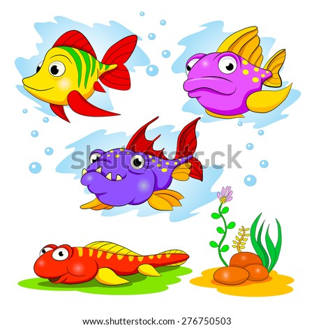 Cartoon set of funny color fishes. - stock vector