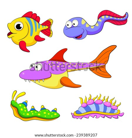 Cartoon set of funny fishes and molluscs. - stock vector