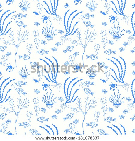 Cartoon set with sea live, set. Copy that square to the side and you'll get seamlessly tiling pattern which gives the resulting image the ability to be repeated or tiled without visible seams. - stock vector