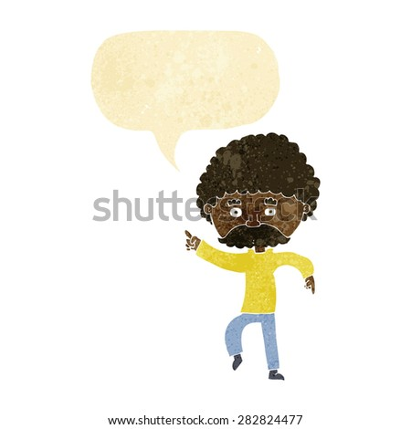 cartoon seventies style man disco dancing with speech bubble - stock vector