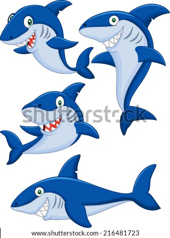 Cartoon shark collection set - stock vector