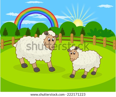 Cartoon sheep and rural meadow with green grass on the mountain background. Natural landscape. - stock vector