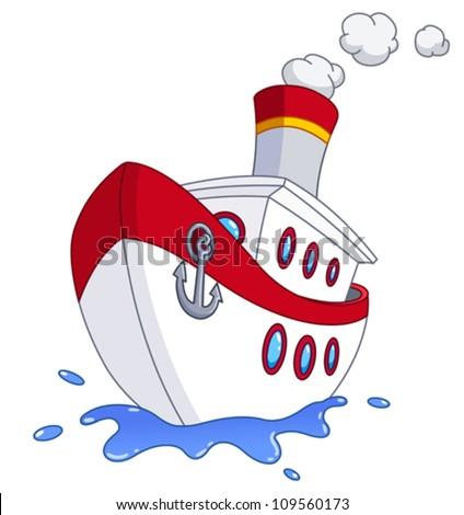 Cartoon ship - stock vector