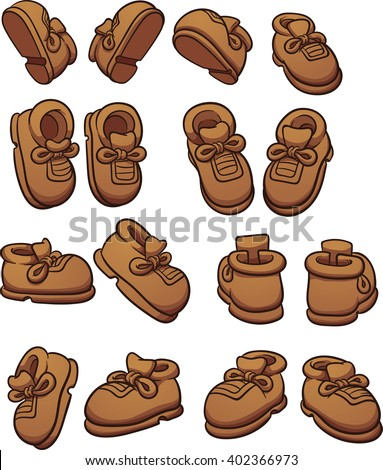 Cartoon shoes in different positions. Vector clip art illustration with simple gradients. Each on a separate layer.  - stock vector
